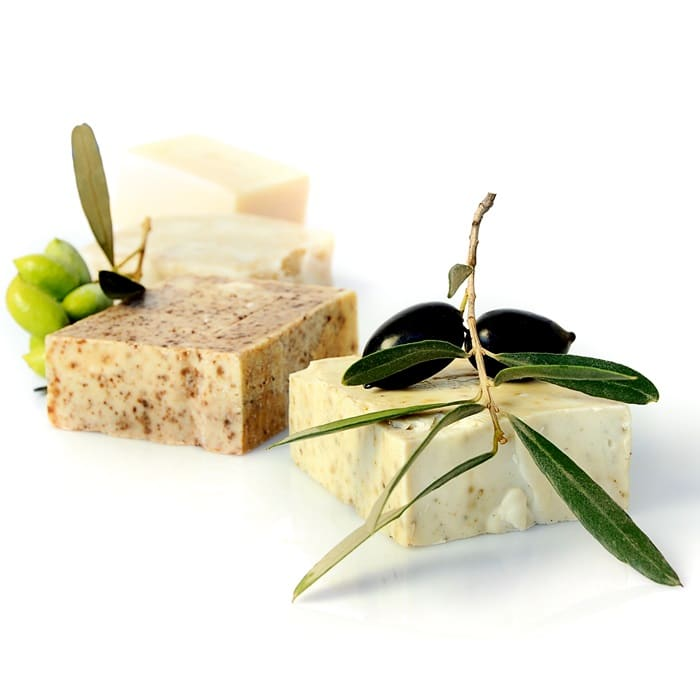 A variety of natural soaps made from virgin olive oil by lavender cosmetics.