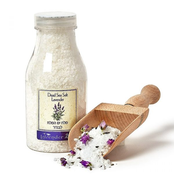 Pure dead sea salt batch with lavender essential oil