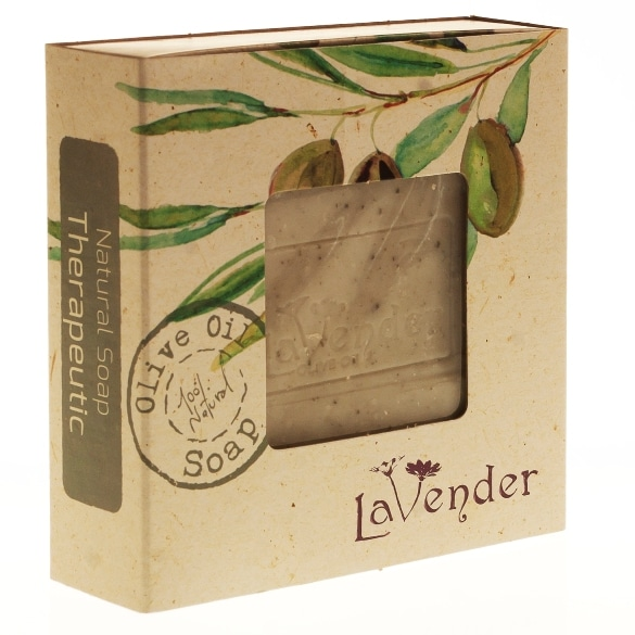 The therapeutic soap contains green clay and Niaouli oil, known for their beneficial properties for the skin
