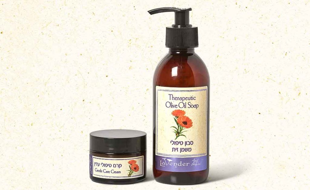 natual soap and natural cream for delicate and dry skin